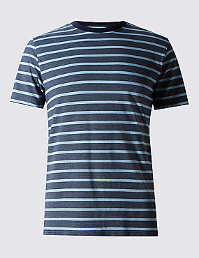 2in Longer Pure Cotton Striped Stay Soft T-Shirt with StayNEW™