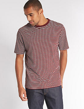 Pure Cotton Striped Crew Neck T-Shirt