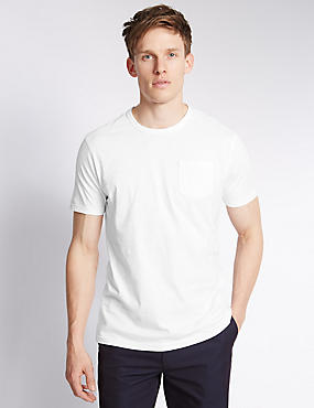 Slim Fit Pure Cotton Pocket T-Shirt with Stay Soft Technology