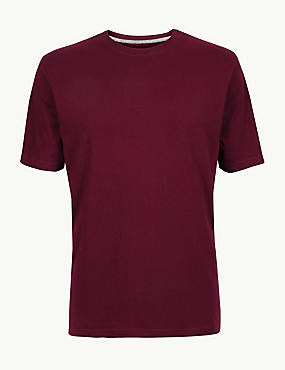Pure Cotton T-Shirt with Cool Comfort™ , DEEP RED, catlanding