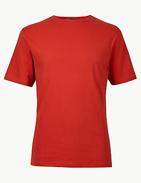 Pure Cotton T-Shirt with Cool Comfort™ , RED, catlanding