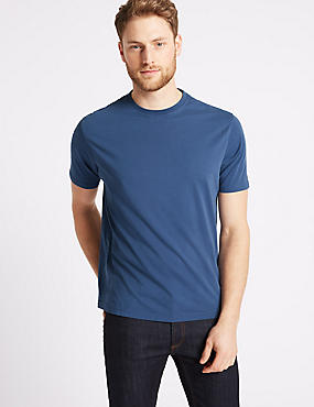 Pure Cotton Crew Neck T-Shirt, DARK DENIM, catlanding