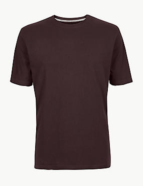 Pure Cotton T-Shirt with Cool Comfort™ , DARK BURGUNDY, catlanding