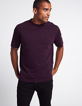 Pure Cotton T-Shirt with Cool Comfort™ , PURPLE, catlanding