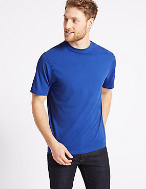 Pure Cotton Crew Neck T-Shirt, BLUE, catlanding