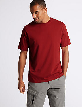 Pure Cotton Crew Neck T-Shirt, RUBY, catlanding