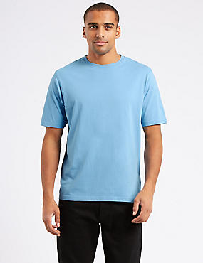Pure Cotton Crew Neck T-Shirt, PALE BLUE MIX, catlanding