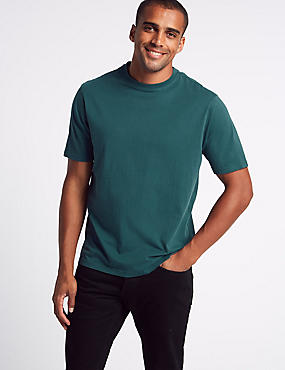 Pure Cotton T-Shirt with Cool Comfort™ , GREEN, catlanding