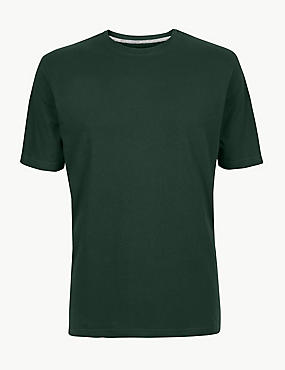 Pure Cotton T-Shirt with Cool Comfort™ , DARK GREEN, catlanding