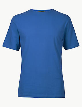 Pure Cotton T-Shirt with Cool Comfort™ , AZURE, catlanding