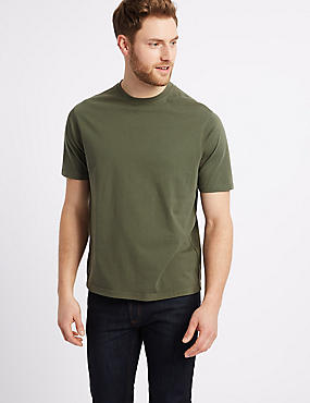 Pure Cotton Crew Neck T-Shirt, MEDIUM KHAKI, catlanding