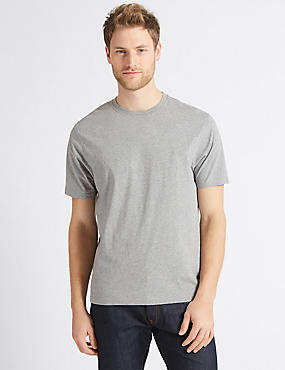 Pure Cotton Crew Neck T-Shirt, GREY, catlanding