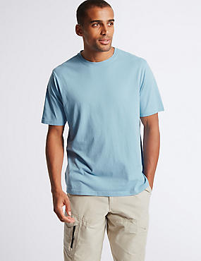 Pure Cotton Crew Neck T-Shirt, SMOKEY BLUE, catlanding