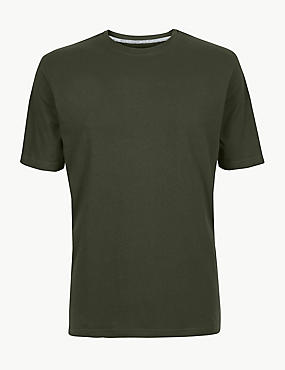 Pure Cotton T-Shirt with Cool Comfort™ , DARK KHAKI, catlanding