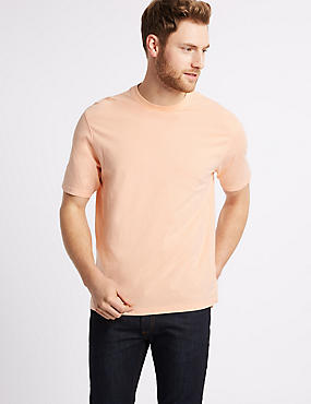 Slim Fit Pure Cotton T-Shirt with Cool Comfort™, SOFT PEACH, catlanding