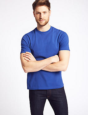 Slim Fit Pure Cotton T-Shirt with Cool Comfort™, BLUE, catlanding