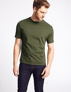 Slim Fit Pure Cotton T-Shirt with Cool Comfort™, MEDIUM KHAKI, catlanding