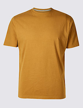 Slim Fit Pure Cotton T-Shirt with Cool Comfort™, OCHRE, catlanding