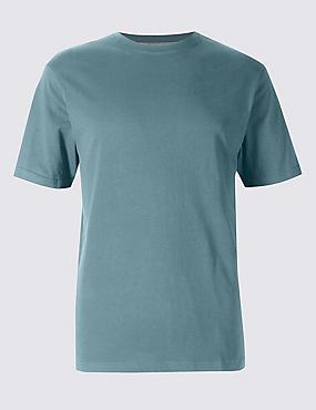Slim Fit Pure Cotton Crew Neck T-Shirt, SMOKEY BLUE, catlanding