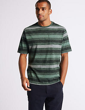 Pure Cotton Striped Crew Neck T-Shirt, FOREST GREEN, catlanding
