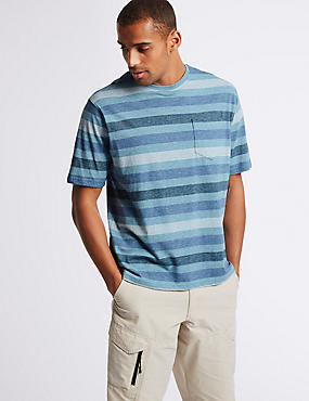 Pure Cotton Striped Crew Neck T-Shirt, SMOKEY BLUE, catlanding