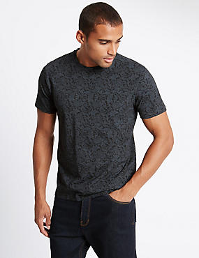 Pure Cotton Slim Fit Paisley T-Shirt
