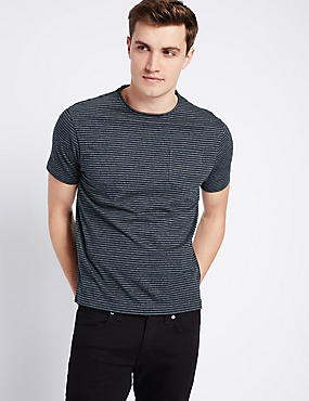 Slim Fit Striped Crew Neck T-Shirt