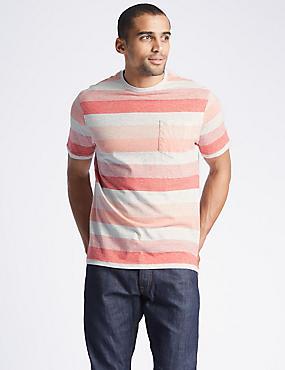 Pure Cotton Striped Crew Neck T-Shirt, CORAL MIX, catlanding