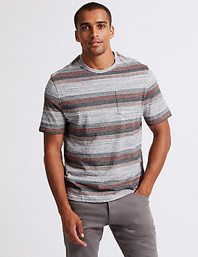 Pure Cotton Striped Crew Neck T-Shirt, RUST MIX, catlanding