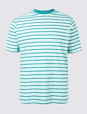 Pure Cotton Striped Crew Neck T-Shirt, TURQUOISE MIX, catlanding