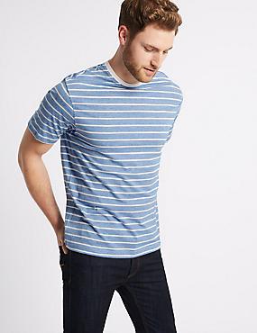 Pure Cotton Striped Crew Neck T-Shirt, WHITE MIX, catlanding