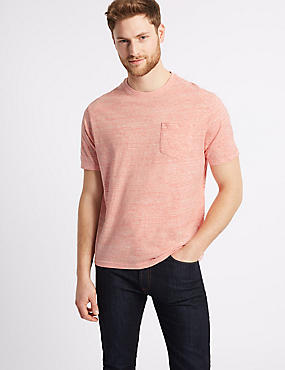 Pure Cotton Textured Crew Neck T-Shirt, CORAL MIX, catlanding
