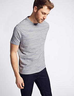 Pure Cotton Textured Crew Neck T-Shirt, BLUE MIX, catlanding