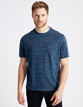 Pure Cotton Textured Crew Neck T-Shirt, NAVY MIX, catlanding