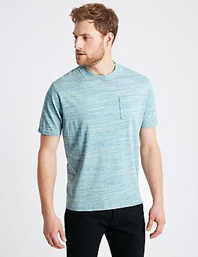 Pure Cotton Textured Crew Neck T-Shirt, AQUA MIX, catlanding