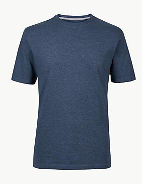 Slim Fit Pure Cotton Crew Neck T-Shirt, DENIM MIX, catlanding