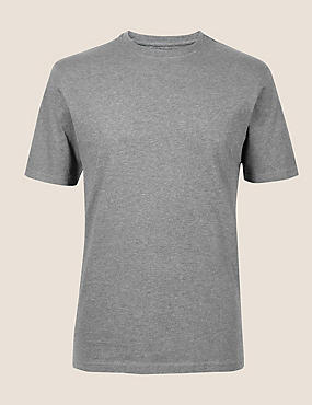 Slim Fit Pure Cotton Crew Neck T-Shirt, GREY, catlanding