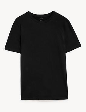 Slim Fit Pure Cotton Crew Neck T-Shirt, BLACK, catlanding