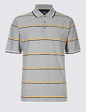 Pure Cotton Striped Polo Shirt