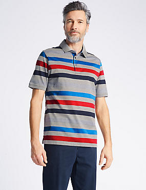 Pure Cotton Striped Polo Shirt , GREY MIX, catlanding