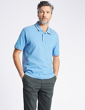 Pure Cotton Regular Fit Textured Polo, FORGET ME NOT, catlanding