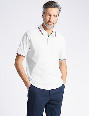 Pure Cotton Regular Fit Textured Polo, WHITE, catlanding