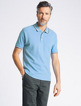 Slim Fit Pure Cotton Textured Polo Shirt, FORGET ME NOT, catlanding