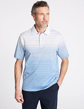 Pure Cotton Striped Polo Shirt, SKY, catlanding