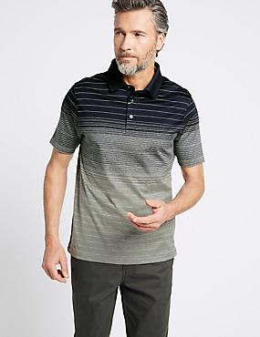 Slim Fit Pure Cotton Striped Polo Shirt, NAVY MIX, catlanding