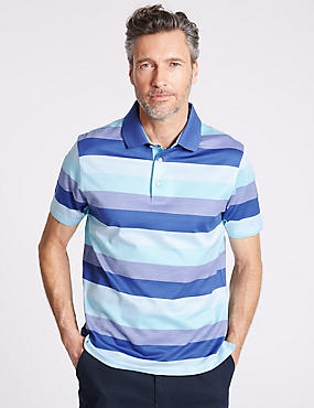 Slim Fit Pure Cotton Striped Polo Shirt, AQUA MIX, catlanding