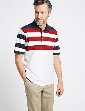 Pure Cotton Striped Polo Shirt, WHITE MIX, catlanding