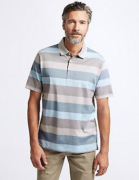 Pure Cotton Striped Polo Shirt, NATURAL MIX, catlanding