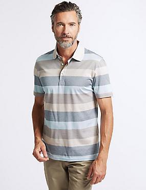 Slim Fit Pure Cotton Striped Polo Shirt, NATURAL MIX, catlanding