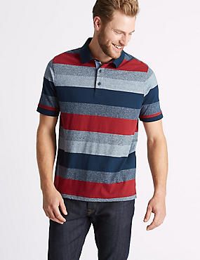 Pure Cotton Striped Polo Shirt, RED MIX, catlanding